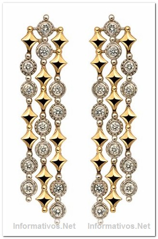 White and Yellow Gold with Diamonds Earrings