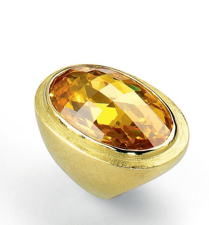 sortija de plata bañada en oro verde matizado y circonita amarilla