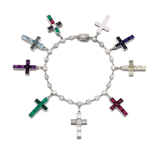sothebys-dofw-Lot-17-Gem-Set-and-Diamond-Cross-Bracelet-A