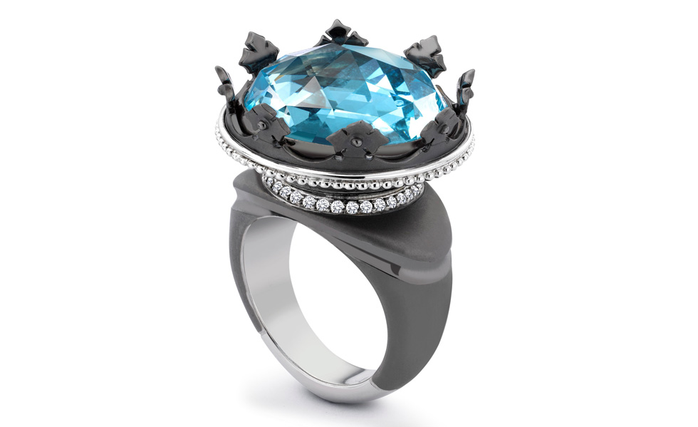 TheoFennellWhite-Gold-Black-Rhodium-Blue-Topaz-and-Diamond-Coronet-Ring-£11900