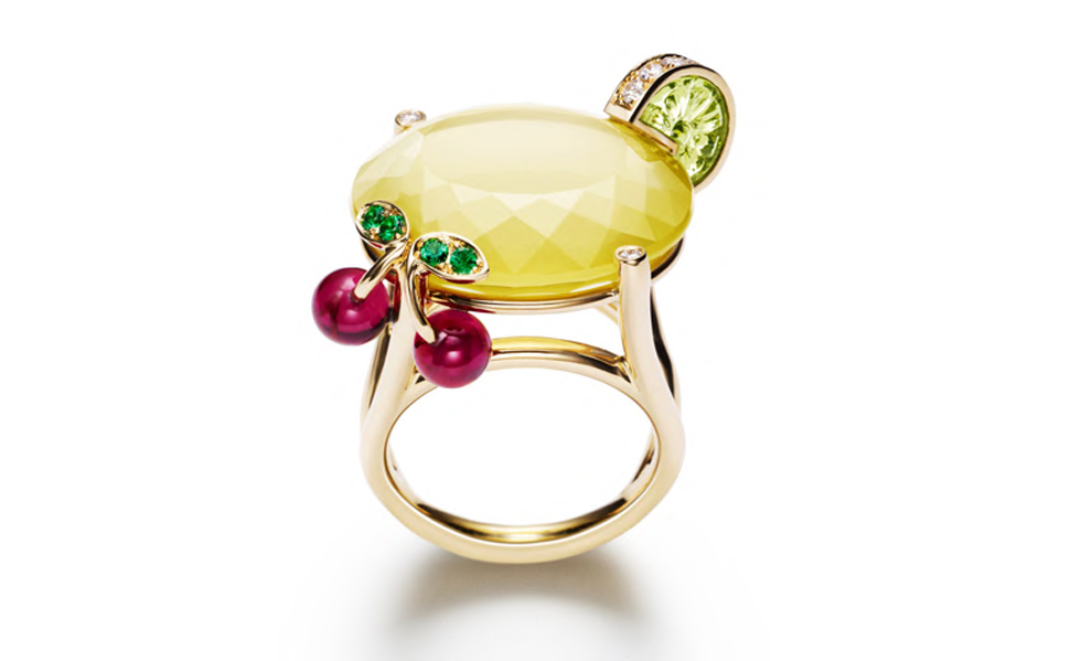 PIAGET-Limelight-ring-Lemon-Fizz-inspiration-in-white-gold-and-daimonds-peridot-yellow-quartz-emeralds-and-rubellites.-POA