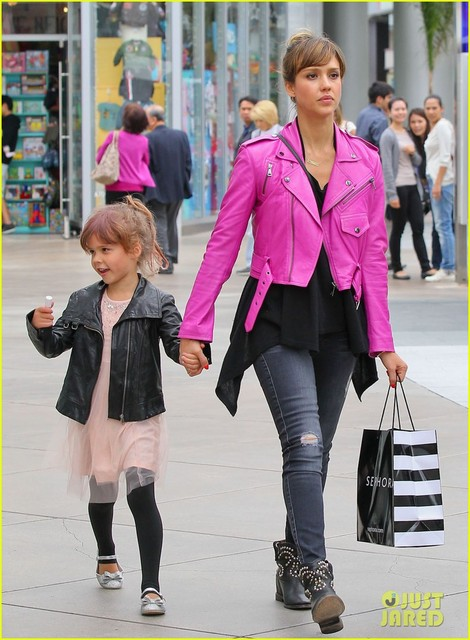 Jessica Alba with Ralph Lauren Jacket