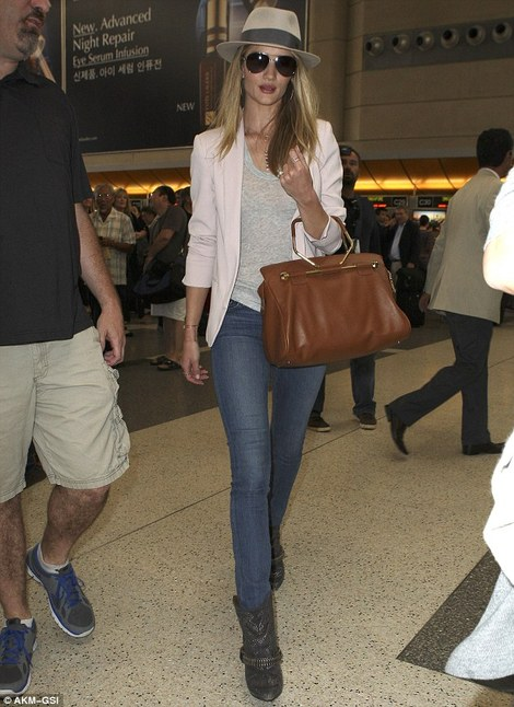 Rosie Huntington Whiteley with bombette bag