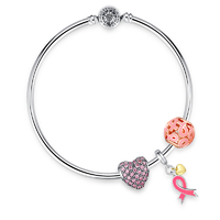 Pink-heart-ribbon-dangle-charm-bracelet