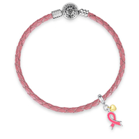 Pink-ribbon-dangle-charm-bracele
