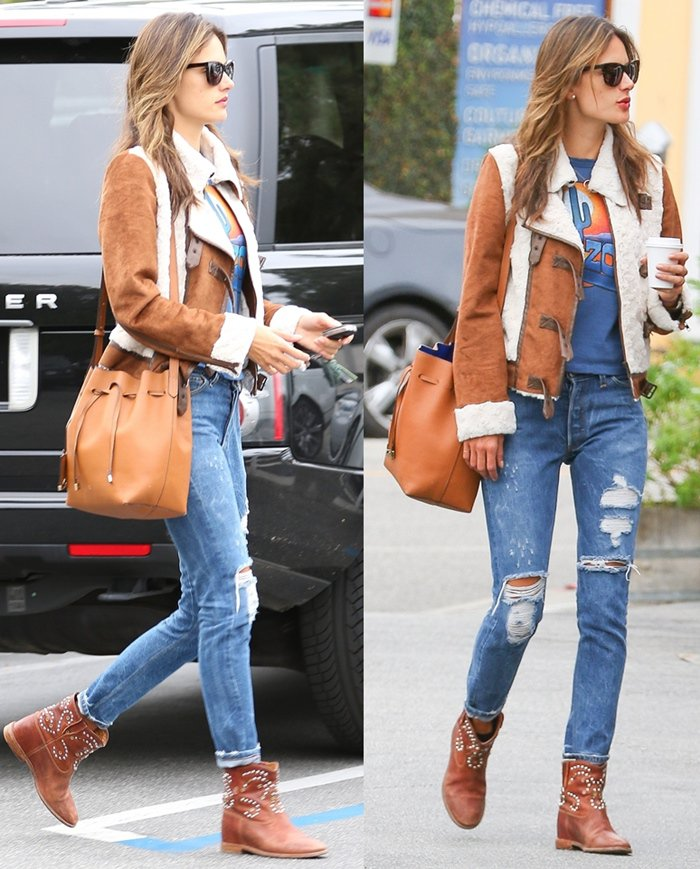 Alessandra Ambrosio with Bucket bag