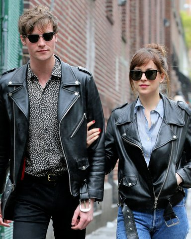 Dakota Johnson with leather jacket