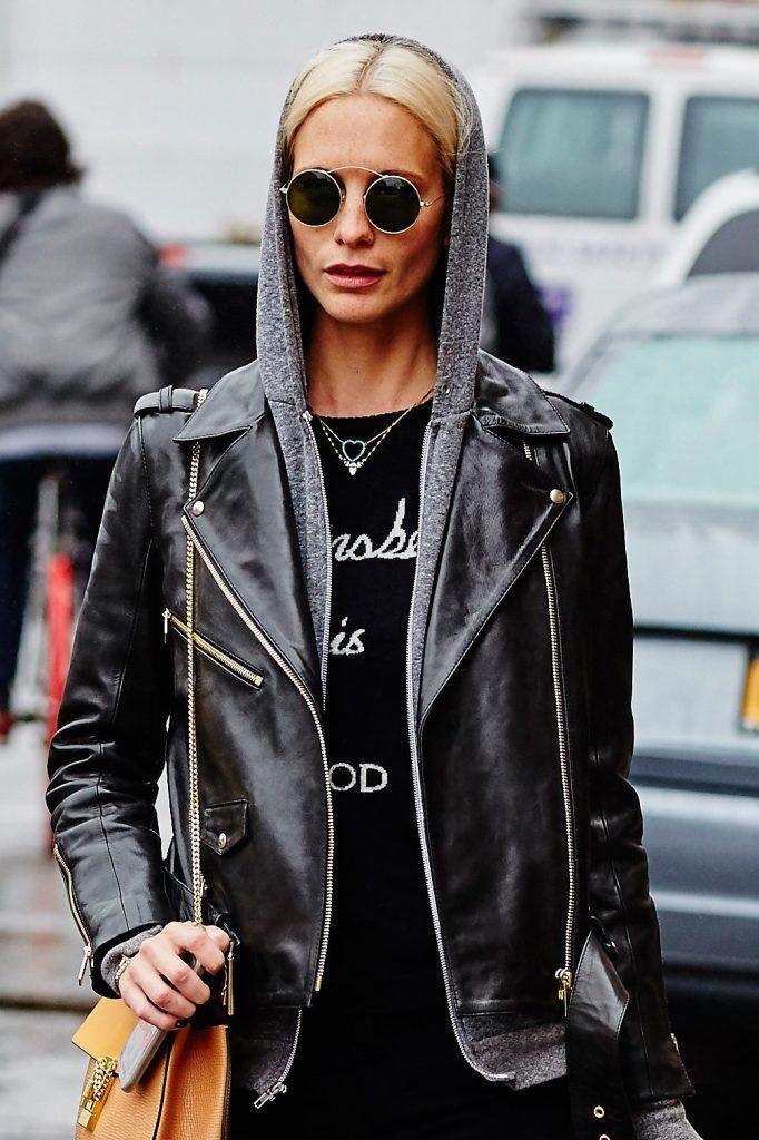 Poppy Delevigne with leather jacket